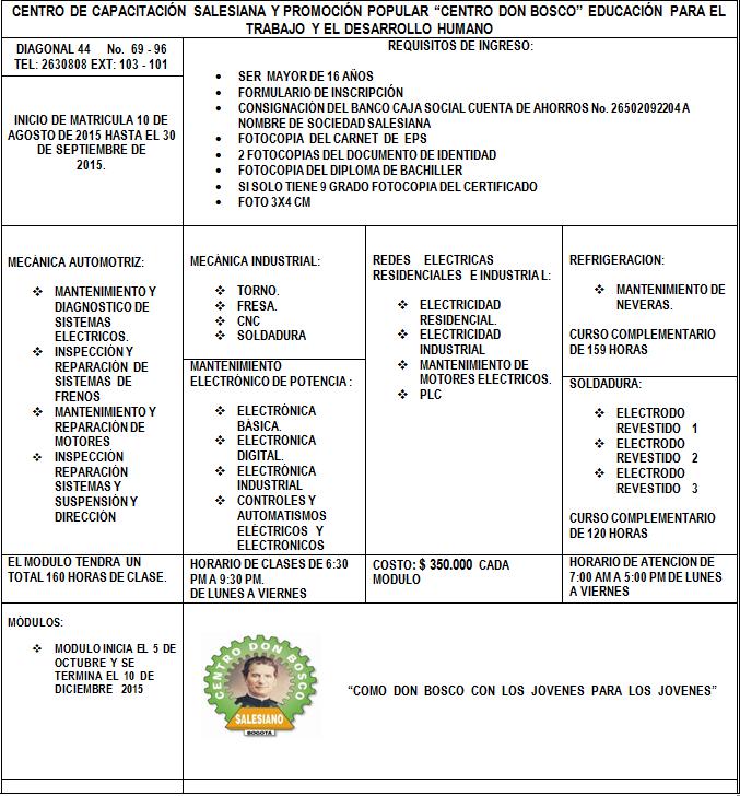 Requisitos de Matricula 15